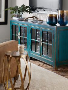 The Ming Media Cabinet From Ethan Allen Takes A Clic Silhouette And In An Aged Teal
