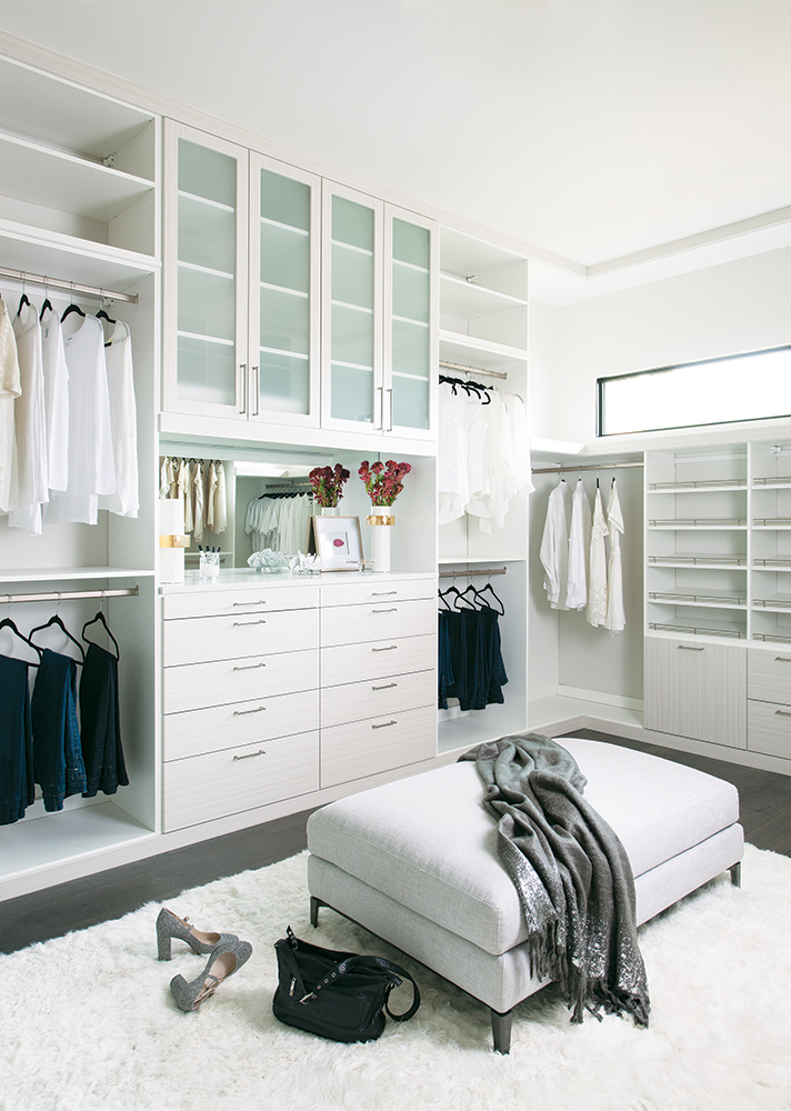This Closet Features Drawers For Socks And Underwear, With Plenty Of  Eye Level Open Shelving For Shoes. More Shelving Behind The Glass Doors Can  Be Used For ...