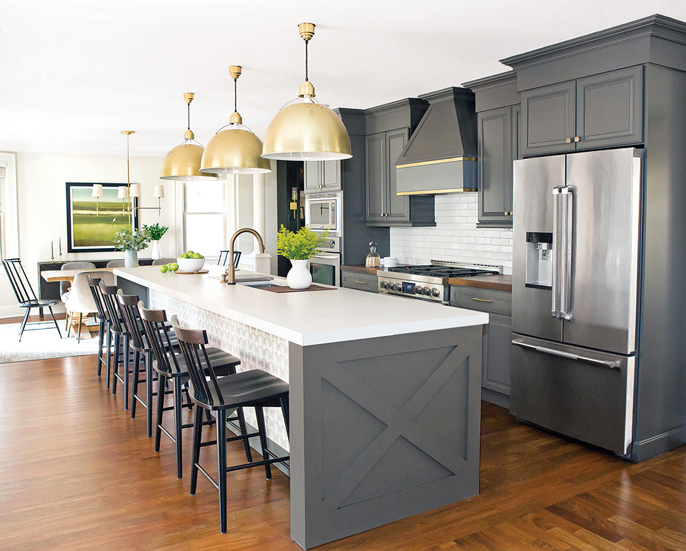 Non-White Kitchen with Gray Paint