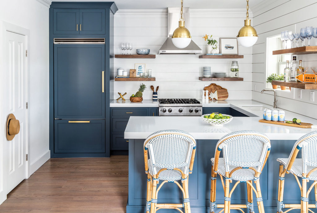 Non-White Kitchen with Blue Paint