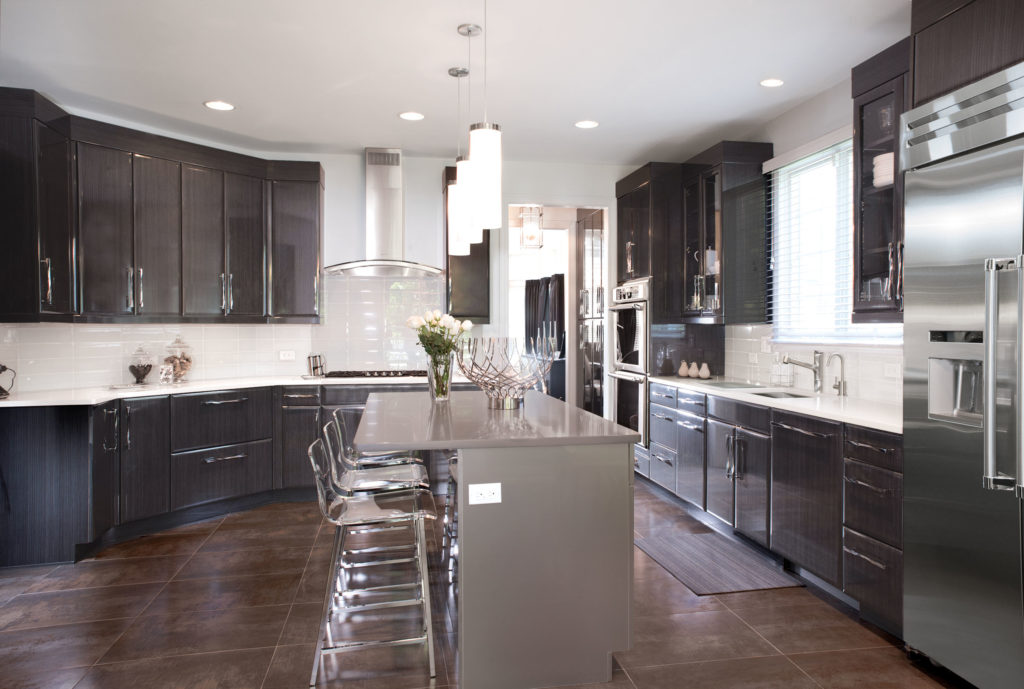 Non-White Kitchen with Wood Finish Cabinets