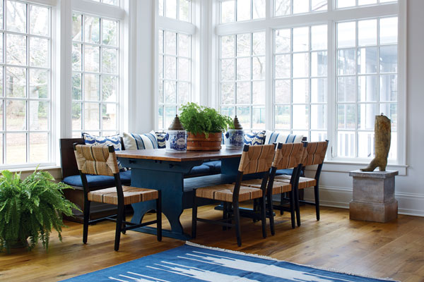 The Table And Benches In Dining Area Off Kitchen Are Reproductions Based On Historic Designs Inspired By An Antique Chair