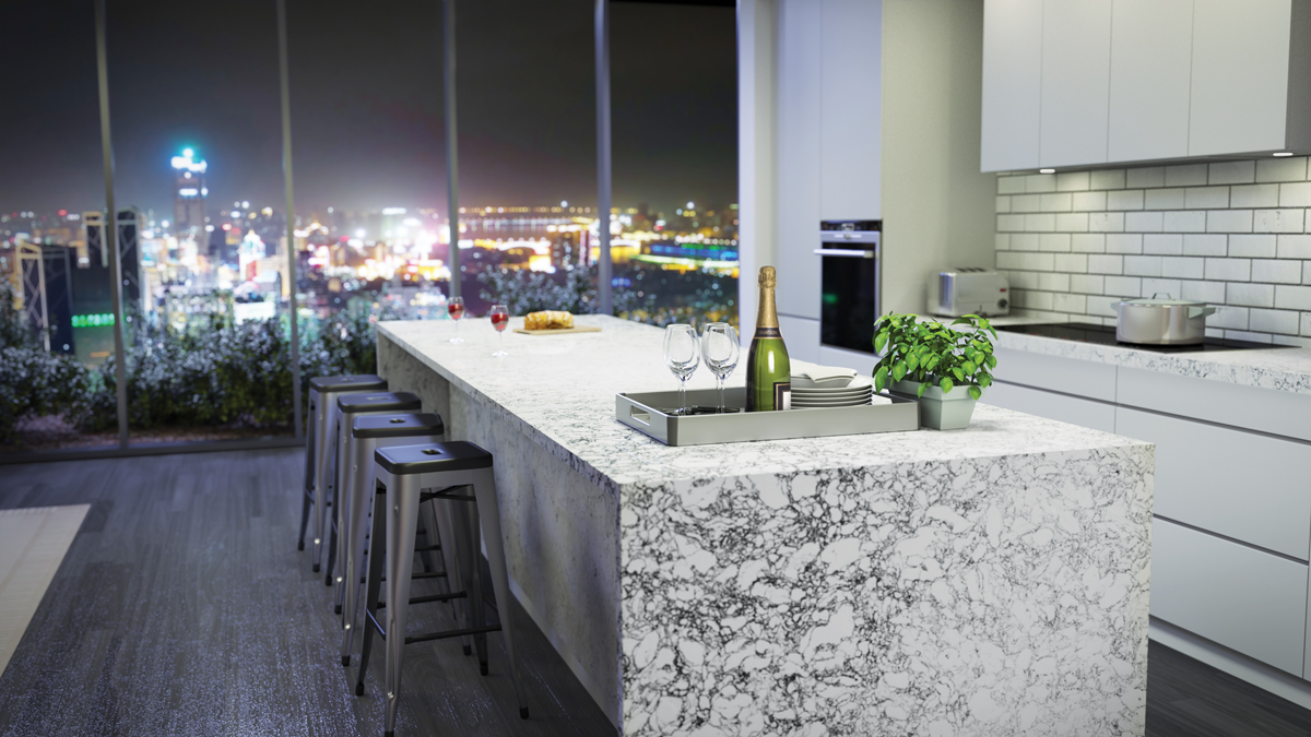 Rosedale, A Cambria Quartz Countertop Available In Matte And Shiny Finishes,  Cascades Over The Edges Of An Island In The Waterfall Design Thatu0027s  Enjoying ...