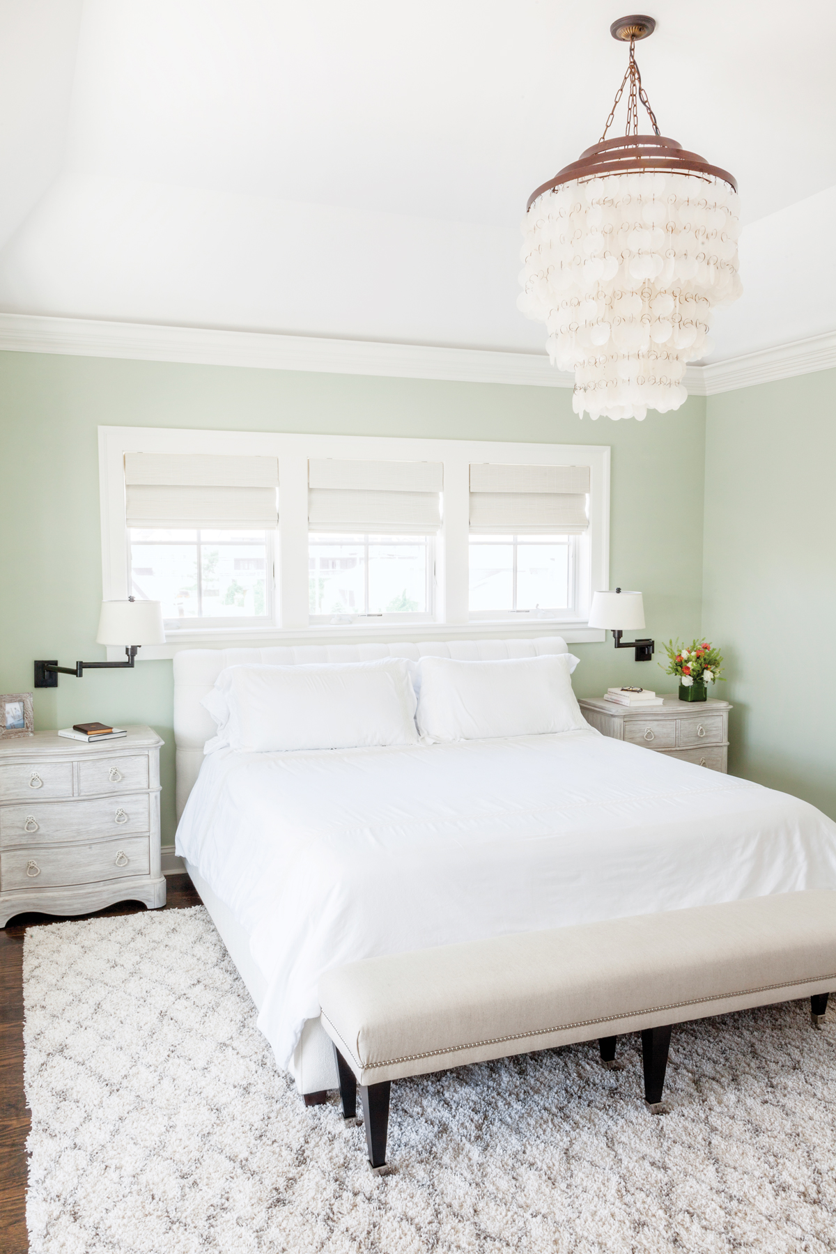 The Bedroom, Painted In A Pale Watery Hue, Features A Capiz Style  Chandelier, One Of Homeowner Cassandra Vinceu0027s ...