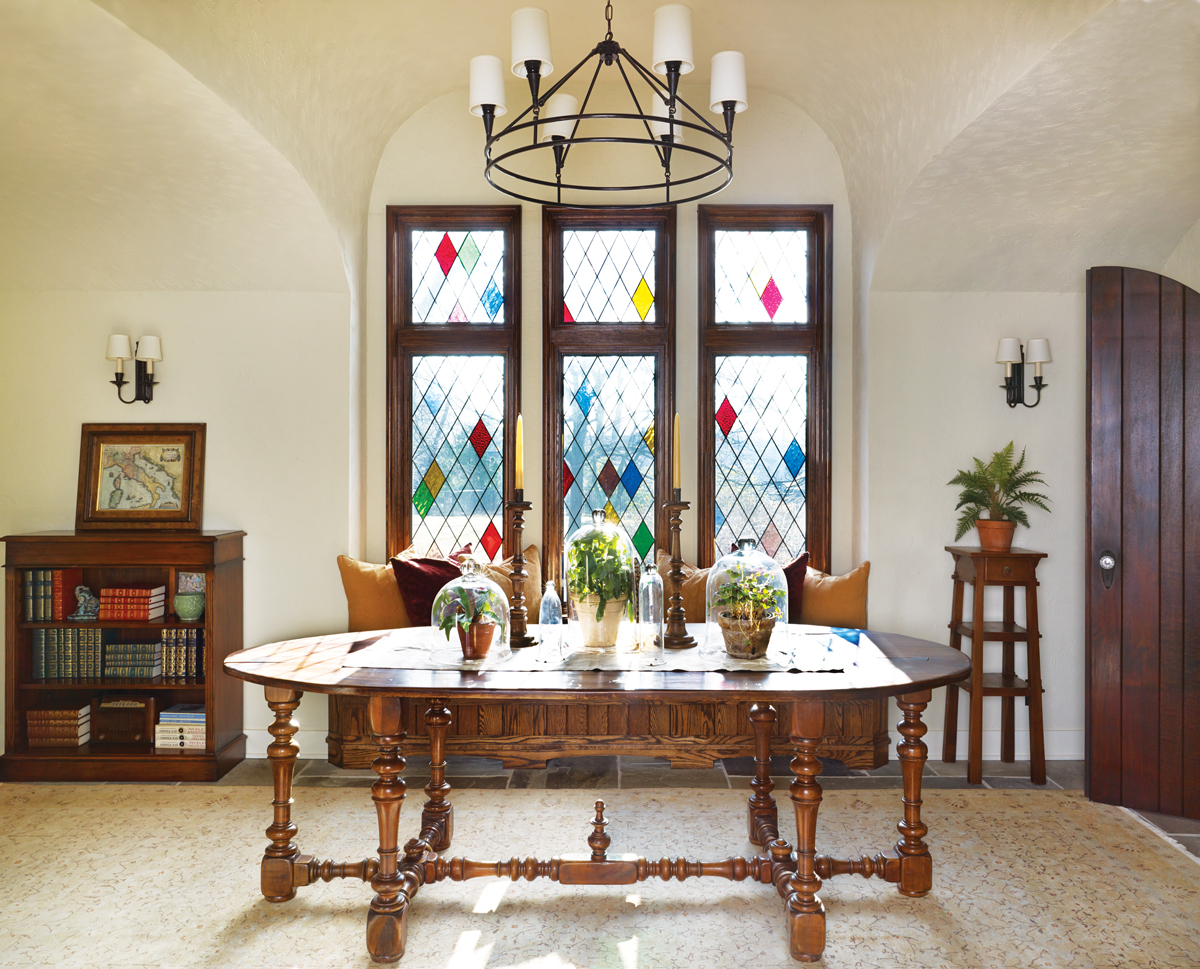 This New Foyer Space Just Off The Entryway Is Also Part Of Addition Three Paneled Stained Glass Window But Fits Style And Spirit