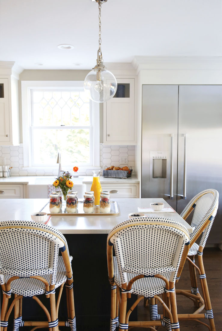 In This Classic White Kitchen With Contrasting Navy Island Base, Serena U0026 Lilyu0027s  Riviera Stoolsu2014handcrafted Of Lightweight Rattan And Easy To Wipe Clean ...