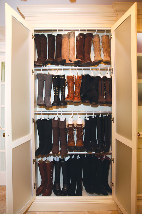 Boot Shapers Extend The Life Of Tall Footwear; These By Affordable Closets  Plus Hang Off Rods Inside A Cabinet. Courtesy Of Affordable Closets Plus  LLC.