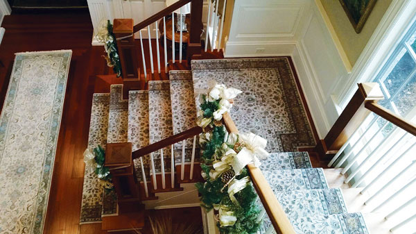 With Guidance From A Worldwide Wholesale Floor Coverings Design Consultant,  An Oriental Pattern Stair Runner Was Crafted To Coordinate With The Narrow  ...