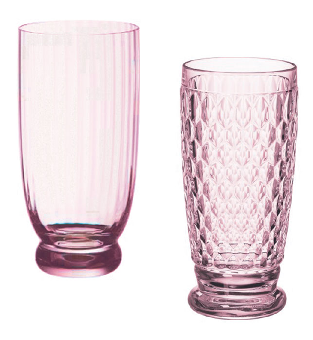 Glassware in gentle hues complements the dishware. Shown are the New Cottage 6-inch cocktail tumbler in rose crystal ($24.95) and the Boston 13½-inch highball glass in crystal rose ($15.95), both from Villeroy & Boch. Other shapes, sizes and colors are available.